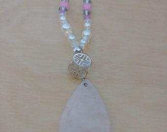 Handmade Quartz Necklace with Pink Rose Jade Beads