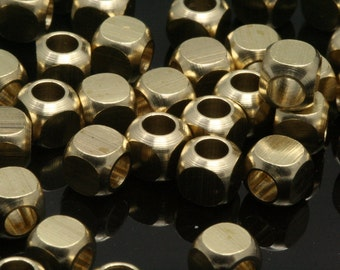 """30 pcs 5 x 5 mm 3/16"""" x 3/16""""  raw brass square cube finding square cube rod industrial design ( 3 mm 1/8"""" 9 gauge hole ) bab3 1009R"""