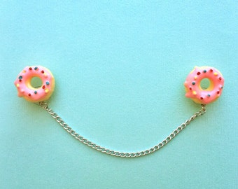 "Handmade ""Donut Darlin'"" Donut Collar Pins or Sweater Guards - Pink Frosting - Sweet Tooth Collection"