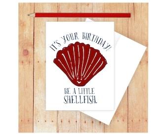 Shellfish Birthday Card, Nautical Birthday Card, Birthday Pun Card, Funny Birthday Card, Red Shellfish, Beach Card, Beach Birthday Card