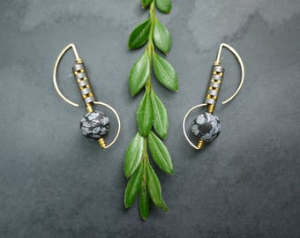 Deco Style Gold Fill Drop Earrings with Snowflake Obsidian and Hematite