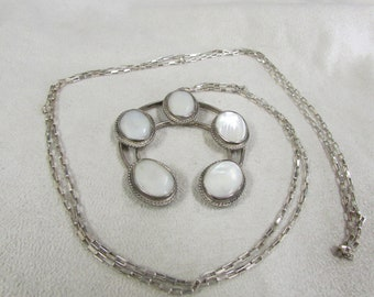Sterling Silver and Mother of Pearl Naja Necklace