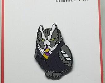 Disgruntled Executive Screech Owl enamel pin