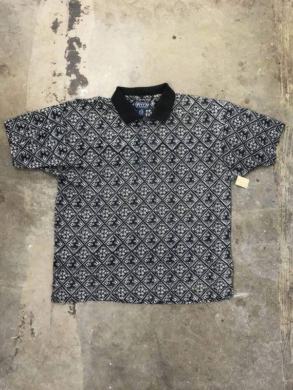 90s Sasson Black and White Print Polo Shirt