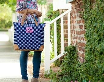 New York Dot Viv & Lou® Shoulder Tote, Charlie Dot Tote Bag, Dot Travel Bag, Blue Tote Bag, Viv and Lou Shoulder Bag, Monogram Travel Bag