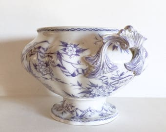 Rare Antique French Sarreguemines Epine Tureen - Lavender Transferware - Ornate Soup Tureen - Decorative Bowl