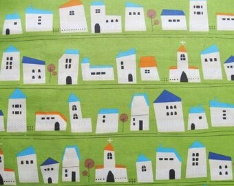 Printed Whimsy - Houses Green - Oxford Medium Weight Cotton from Kokka Fabrics