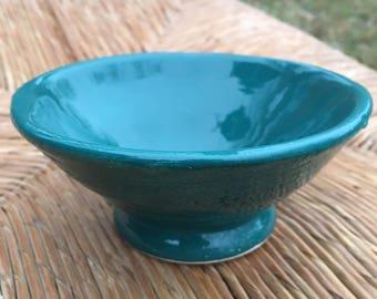 Teal snck bowl, Hand made