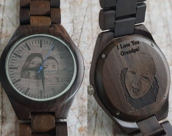 photo engraved wooden watch, picture engraved wood watch, photo engraving, picture engraving watch, photo watch, picture watch, mens watch