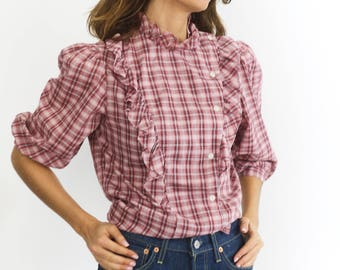 70s Frill neck Checked Blouse
