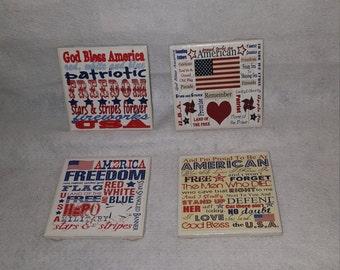 Set of 4 4x4 Ceramic Patriotic Coasters