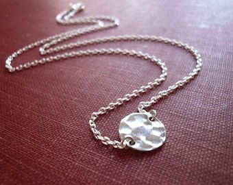 Hammered Silver Disc Necklace in Sterling Silver