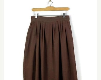 ON SALE Vintage Light Brown Flare Midi Skirt from 1980's/W27