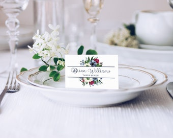 Watercolor Escort Cards | Watercolor Place Cards | Wedding Escort Card | Wedding Place Cards | Flower Escort Card | Floral Place Card