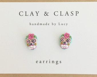 Sugar Skull Earrings - beautiful handmade polymer clay jewellery by Clay & Clasp