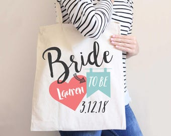 Bride Wedding Tote Bag Gift for Bride, Modern Style Bridal Shower Gift Idea Bags for Wedding Friend (Item - BTB300)