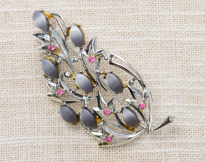 Grey and Pink Brooch Vintage Silver Abstract Modern Leaf Broach Vtg Pin 7YY