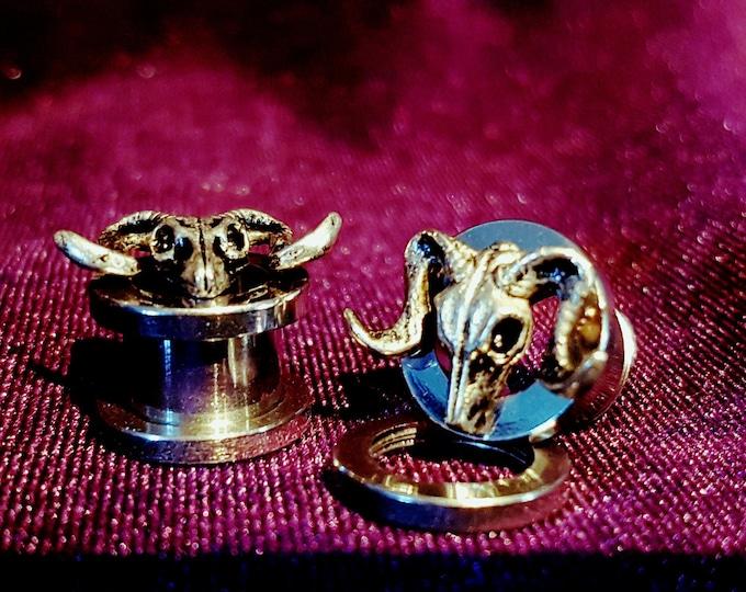 Occult Ram Skull Plugs - goat skull earrings goat of mendes heavymetal satanic earplug gauge jewellery