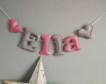 Glitter felt Personalised Bunting - glitter felt - name garland - name banner - handmade - nursery decor  - child decor - MADE TO ORDER!