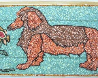 Hooked Rug Dachshund Dog Design Folk Art Painting On Found Wood