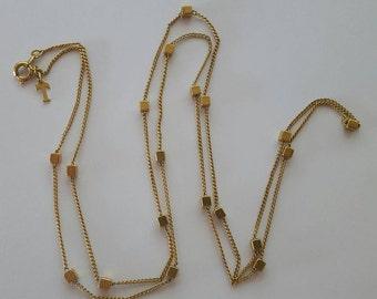 Vintage Trifari Gold Cube Necklace