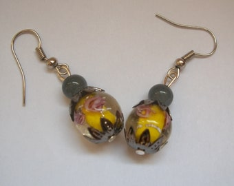 Yellow Lampwork beads earrings