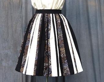 Designer Colour Block Skirt | Cream and Black Stripe Skirt | Ethnic Print Panel Skirt | African Print Skirt | Full Gathered Skirt
