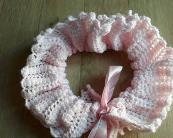 Hand Knitted Pink Lace Neck Ruff