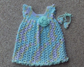 Newborn to 3 Months,Dress,Crocheted,Barefoot Sandals,Variegated Blues,Pinks,Greens,Lavender,Clothing,Babies,Girls,Gift,Photos,Infants