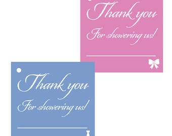 24 Baby Shower Thank You Favor Tags - Girl or Boy
