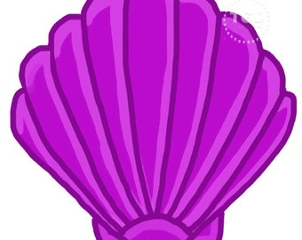Purple Scallop Shell - Original art download, 2 files, scallop shell clip art, beach art, sea shell art