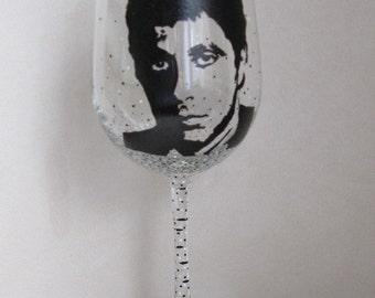 Hand Painted Wine Glass - AL PACINO, Actor, Director