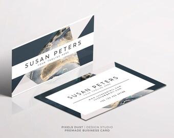 DIGITAL Premade Business Card Template, Digital Templates, Business Card Template Branding, Stationery, Customizable, Marble, Geometric