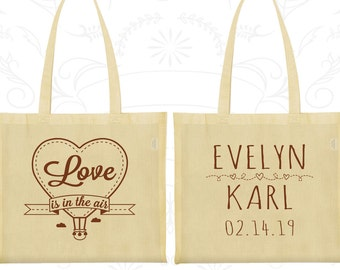 Love is in the Air Wedding Bags, Wedding Favor Bags, Hot Air Balloon Bags, Love Wedding, Personalized Tote (229)