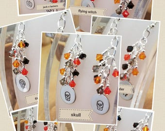 Black and orange Halloween earrings featuring Swarovski crystals and hand stamped charms SEVEN different designs to choose from
