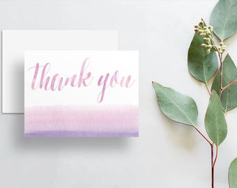Watercolor Calligraphy Thank You Cards / Pale Purple Sunset Pink Watercolor / Thank You Notes / Printed Folded Thank You Cards