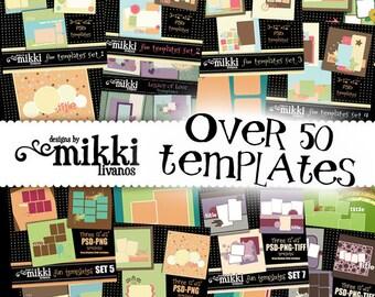 Digital Scrapbook Templates - Set of OVER 80 PSD templates for scrapbooking