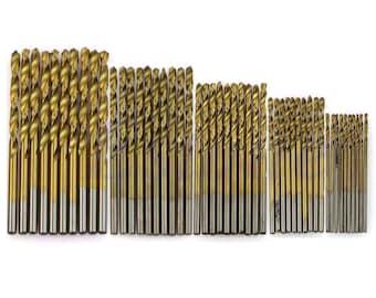 50Pcs Titanium Coated HSS High Speed Steel Drill Bit Set Tool 1/1.5/2/2.5/3mm
