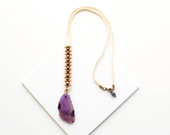 OOAK Agate Necklace, Purple Lariat Necklace, Violet Pendant Necklace, Long Bead Necklace, Cream White Cord Necklace, Festival Necklace