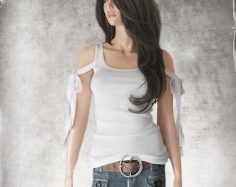 White tank top/adjustable sleeve ties/sleeveless tee