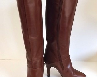 Vintage Knee High Boots Size 5 - Coffee Brown Leather High Heel Boots