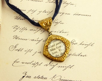 Miss Eyre - Literature Necklace - Jane Eyre - Charlotte Bronte- Novel, Book, Rochester -  Silver, Gold