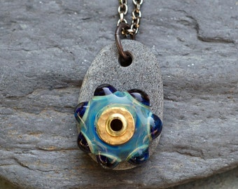 Boro Glass Lampwork Beaded Sea Stone Pendant Necklace Jewelry - I Do