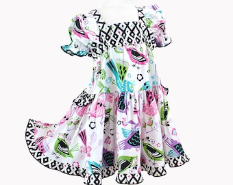 Modern Colorful Birds Ruffled Girls Dress Boutique Girl Clothes Pink Purple Teal Girl Cotton Party Dress 2t 3t 4t 5 6 7 8 10 12 14 Geometric