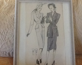 Vintage  Fashion Art, ink and watercolor, original, French, Art Deco