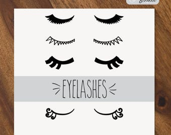 Eyelashes SVG - 5 Different Eyelash Hand Drawn Vector - Closed Eyes Clip Art - Digital Art -Multi Formats: Png, Svg, Dxf, Eps, Pdf Files