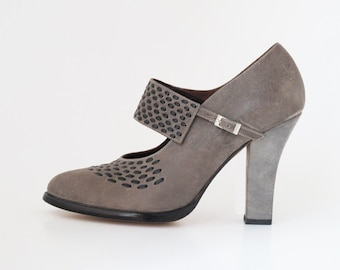 Woven heel - stunning Mary Jane style with woven front detail and sculptural high heel