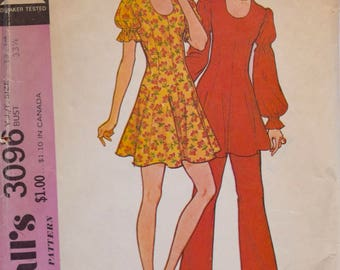 1970's McCall's 3096 Vintage Sewing Pattern Junior / Teen Dress or Tunic Pants and Dance Pants Juliet Sleeves Trimmed Collar Size 14 Bust 33