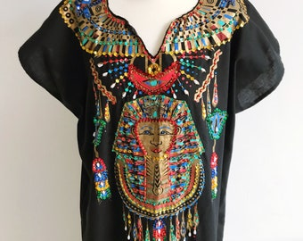 Vintage Cotton Egyptian Kaftan Dress