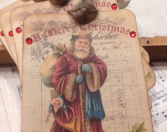 Santa Gift Tags Christmas Tags A Merry Christmas Tag Set Vintage Santa Tags Shabby Chic Style Christmas Tags Vintage Holiday Gift Tags